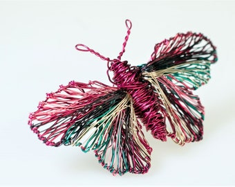Wire sculpture art, butterfly brooch, jacket pin, modern boho, statement, fuchsia, insect jewelry, Spring, mothers day gift from daughter
