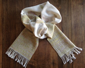 Unicorn's Heart Handwoven Scarf | Handwoven, overshot, hand-spun wool, mercerized cotton