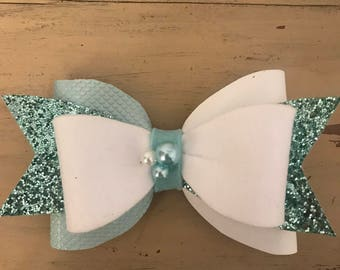 white/blue faux leather, felt and glitter bow