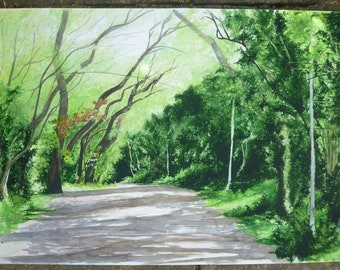 Original A2 Painting of a Sunny Wooded Path