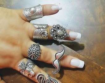 Hippie Ring, Boho Silver Ring, Long Ring, Ethnic Ring, Tribal Ring, Bohemian ring, Gypsy Rings, Knuckle rings, Silver Rings, Boho Jewelry
