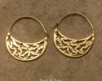 Small Gold Hoop Earrings, Boho Hoops, Boho Earrings, Birds Earrings, Gold Plated Hoop Earrings, Bohemian, Boho Gypsy Earring, Womens Gift