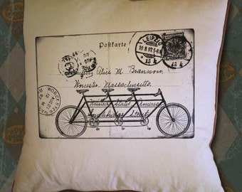 Three Seat Triple Bicycle on Original Collage Postcard Address Back Vintage Digital Collage Image Transfer Download 300 dpii