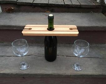 Wine caddy , wine glass holder