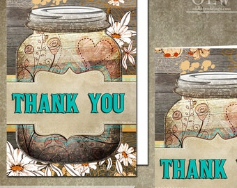 Daisy Thank You Card, Mason Jar Thank You Greeting Card, DIY Printable Thank You, Rustic Thank You Card, Turquoise, Wood Planks, Flowers