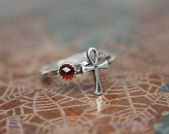 Ankh Key of Life Stacking Ring. Sterling silver Egyptian Ankh ring.