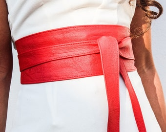 Red Leather Obi Belt | Leather Corset Belt | Waist Sash belt | Red Belt | Plus size belts | Size 0 to 30