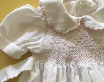 Vintage Summer Smocked Romper Outfit 3-6 Months White Pink