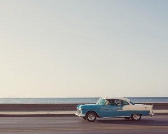 """Car Pictures, Classic Car Decor, Blue Vintage Car Photography, Boys Room Decor, Wall Decor, Boys Wall Art, Havana Cuba """"Get Around"""""""