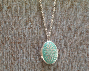 Small Aqua Blue Silver Locket, Delicate Chain Necklace, Art Deco Style Floral Botanical Patina Locket