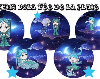 "Digital images - cabochon - jewelry - scrapbooking - collage ""chibi doll fairy rain 1"" 25mm - 20mm - 18 mm"