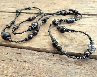 Black long beaded necklace, long necklace, beaded necklace, black necklace, boho chic, long black necklace,long beaded necklace,gift for her