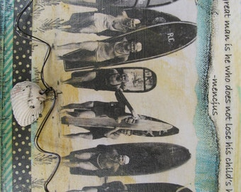 Painting  Beach Vintage Surfers Mixed Media Coastal Decor