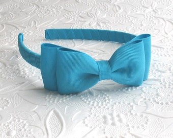 Turquoise Bow Headband, Girls / Adults Headband, Toddler Headband, Turquoise Hair Bow, Hard Headband