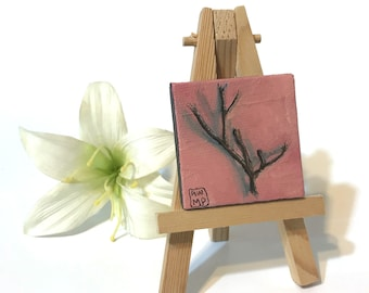 Pink Twig - miniature painting, small painting, mini painting, tiny painting, miniature oil painting, tiny oil painting, still life painting