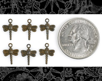 Mini Dragonfly Rusty Black Finish Brass Charms Set of Six  *RB-C110