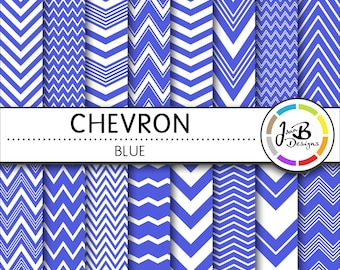 Chevron Digital Paper, Blue, Blue and White, Chevron, Zig Zag, Digital Paper, Digital Download, Scrapbook Paper, Digital Paper Pack