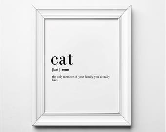 Funny Cat Definition, Cat Lovers Wall Art, Funny Cat Wall Art, Cat Word Art, Cat Art Print, Cat Print, Printable Art, Cat Lover Gift Ideas