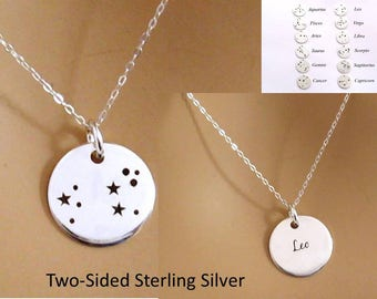 Silver Zodiac Necklace/Sterling Silver Constellation Necklace/Zodiac Jewelry/Zodiac Gift/Constellation Jewelry Gift/ Personalized Gift Her