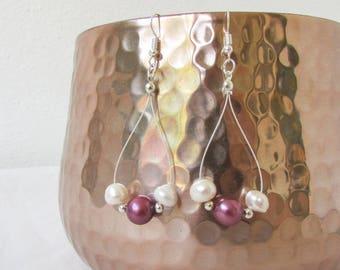 Pink pearl earrings, freshwater pearl earrings, sterling silver bridesmaids earrings, long earrings, bridesmaids jewelry handmade in the UK