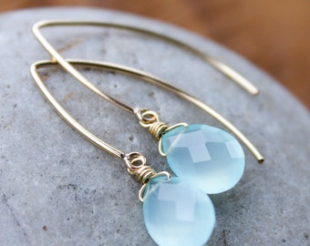Gold Aqua Blue Chalcedony Gemstone Earrings - Gold Filled