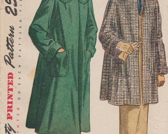 Simplicity 2331 / Vintage 40s Sewing Pattern / Coat Jacket / Size 16 Bust 34