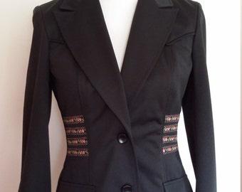 70's jacket, s, western blazer, boho blazer, floral blazer, western jacket, 70's blazer, black blazer, black jacket