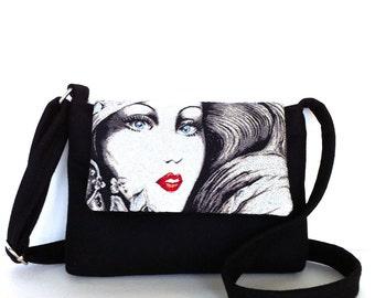 Small messenger bag , Black messenger purse , Fabric bag , Small side bag , sling purse ,Crossbody purse , Travel purse , Shop Canada