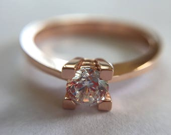 Rose Gold Ring, Solitaire Ring, Gold Solitaire Ring, Zirconia Ring, Cz Ring, Promise Ring, 14K Gold Solitaire Ring, Gold Promise Ring,