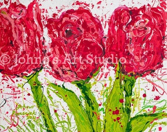 Modern wall art, Abstract Tulip Painting,Impressionist art, Three flowers, Print by Johno Prascak
