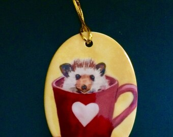 Hedgehog  Valentine ornament - can be personalized on back.