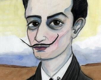 Salvador Dali Art Print, Surrealist Art, Famous Artist Portrait (11x14) Persistence of Time Portrait, Man with Mustache Man