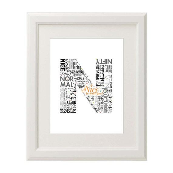 Positive words start with Letter N Alphabet N monogram