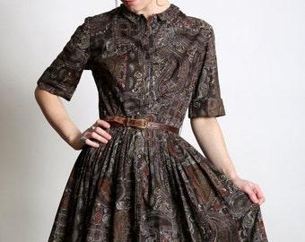 Brown Paisley Shirtwaist Dress