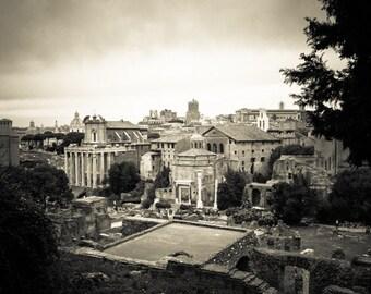 Rome Italy -  Black and White Sepia - Fine Art Photograph - Roman Forum