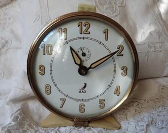 Antique French gold cream alarm clock vintage Jaz clock retro alarm clock 1930s w mechanical movement, vintage retro decor for bedroom