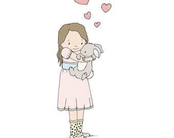 Children Art -- Heart Hugs -- Girl and Bunny Art -- Girls Room Decor -- Woodland Nursery -- Children Art Print -- Kids Wall Art