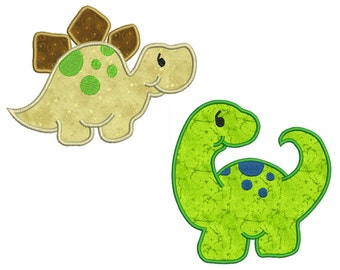 DINOSAURS 1 - Machine Applique Embroidery - 2 Patterns in 2 Sizes - Instant Digital Download