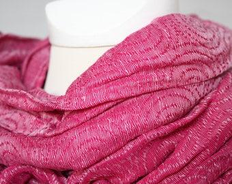 Silk - linen - scarf, Pink / White