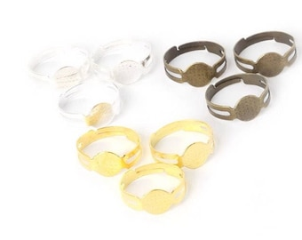 5 Adjustable Cabochon ring bases in 3 colours