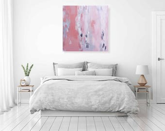 "Pink abstract art painting. Minimalist abstract painting. Original oil painting on canvas 36"" x 36"" by MarinaInfanteArt"