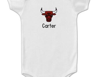 Personalized Chicago Bulls Baby Bodysuit