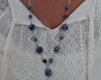 Wire-Wrapped Blue Jasper Y Necklace
