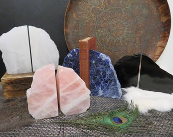Polished Stone Book Ends - Amazing Rock Bookend  - Crystal Quartz, Rose Quartz, Sodalite, Obsidian - Choose the Stone and Size - (RK303)