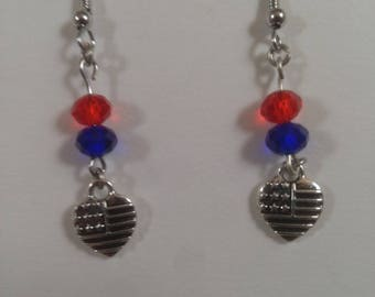 American flag heart earrings with red, white, and blue.