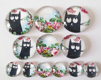 Set of 12 flowers (craftsmanship) CAT themed cabochons 12mm / 20mm / 25mm