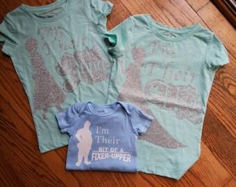 Disney Frozen Inspired sibling shirt set; Elsa, Anna and Kristof Silhouette t-shirt set; boys frozen shirt; brother and sister disney shirts