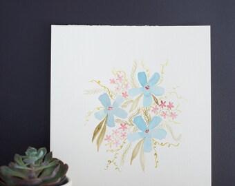 Aquarelle Bouquet bleu