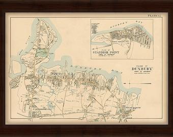 0508-Duxbury Village Map 1903 Colored Reproduction