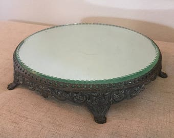 Mirrored Vanity Pedestal Tray, Mirrored Make Up Stand, Mirrored Footed Perfume Tray, Vintage, Ornate, Vintage Wedding